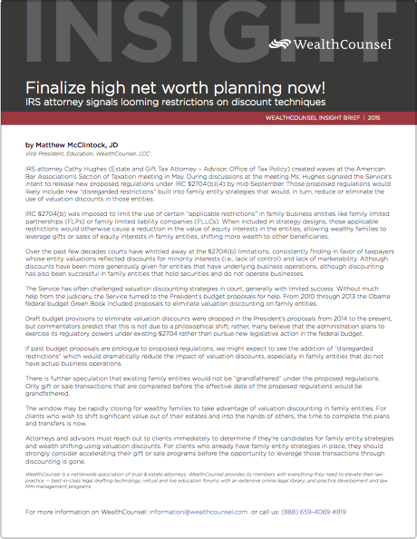 Finalize High Net Worth Planning Now Irs Attorney Signals Looming